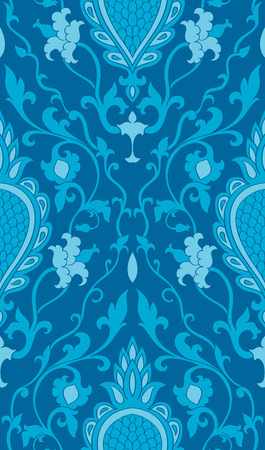 Blue pattern with damask. Turquoise filigree ornament. Elegant template for wallpaper, textile, shawl, carpet.