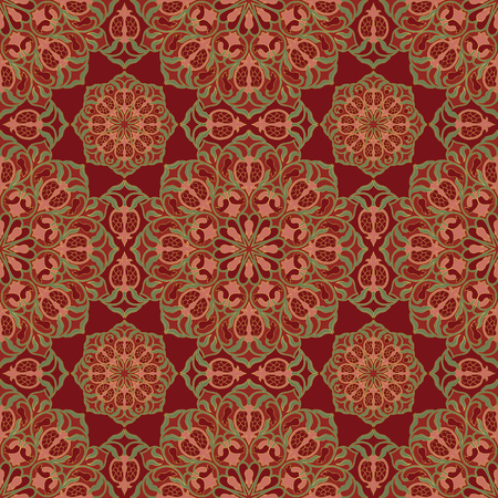 Abstract floral pattern. Vector colorful background with pomegranates. Template for textile, carpet, shawl. Vettoriali
