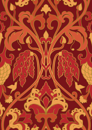 Red and orange floral pattern. Seamless filigree ornament. Stylized template for wallpaper, textile, shawl, carpet and any surface. Pattern with flowers and hummingbird.