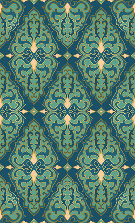 Oriental turquoise ornament. Template for carpet, textile, wallpaper and any surface.