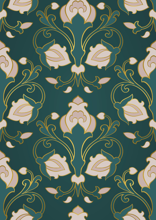 Pattern with ornamental flowers. Green floral ornament. Template for wallpaper, textile, shawl, carpet and any surface. Illustration