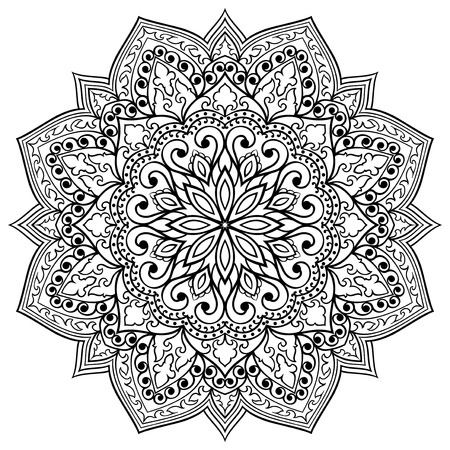 Vector filigree mandala with abstract elements, isolated on white background. Oriental ethnic ornament. Template for carpet and any surfaces. Design element.