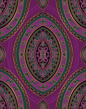 Lilac and green abstract ornament. Template for carpet, textile, wallpaper and any surface. Seamless vector pattern.