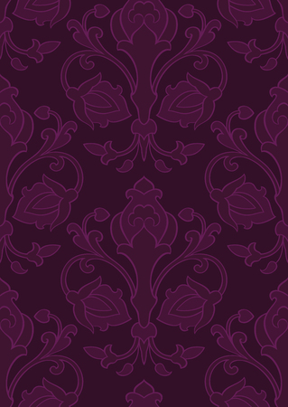 Pattern with ornamental flowers Dark floral ornament
