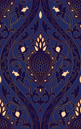 Pattern with damask. Blue filigree ornament. Elegant template for wallpaper, textile, shawl, carpet.