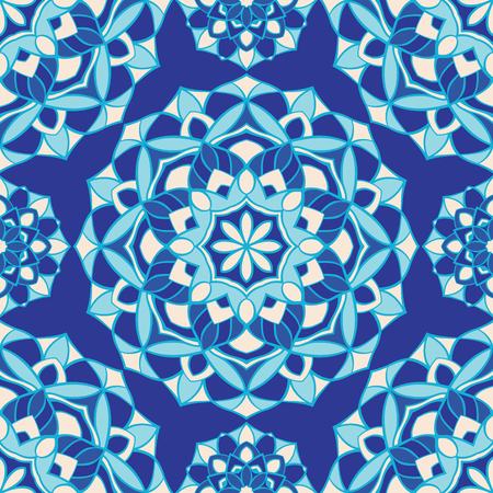 Abstract pattern with mandala. Seamless filigree ornament. Blue template for wallpaper, textile, shawl, carpet.