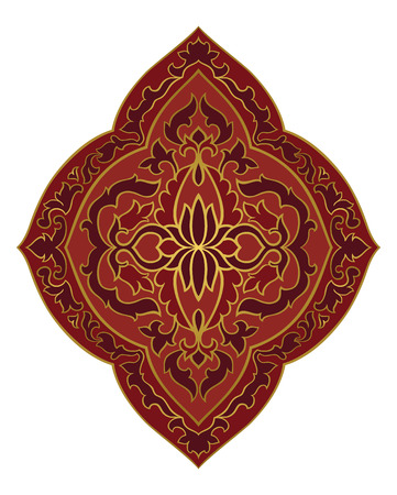Red medallion for design. Template for carpet, wallpaper, textile and any surface. Vector pattern on a white background.  イラスト・ベクター素材