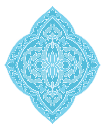 Blue medallion for design. Template for carpet, wallpaper, textile and any surface. Vector pattern on a white background.