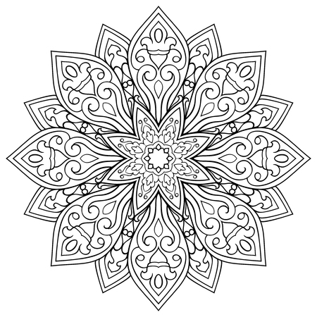 Vector mandala isolated on white background. Oriental ethnic ornament. Template for carpet and any surfaces. Design element. Mehndi.  イラスト・ベクター素材