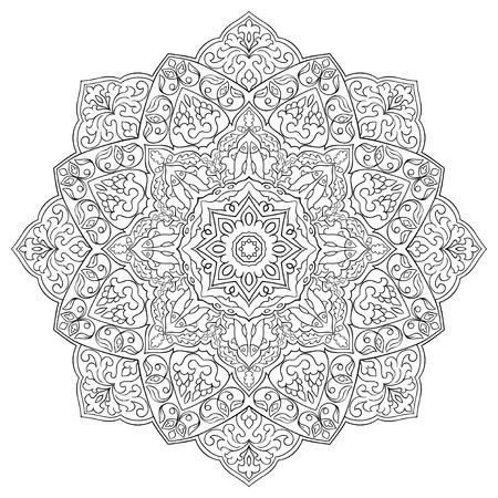Vector filigree mandala with abstract elements isolated on white background. Oriental ethnic ornament. Template for carpet and any surfaces. Design element. Mehndi.