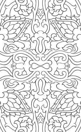 Floral pattern with damask. Filigree ornament. Black and white template for textile, shawl, carpet.  イラスト・ベクター素材