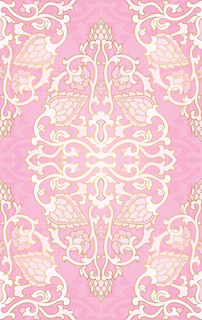 Oriental abstract pattern. Vector pink template for textile, shawl, carpet. Colorful ornament. Ilustração