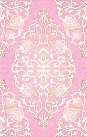 Patrón abstracto oriental. Plantilla de vector rosa para textil, chal, alfombra. Adorno colorido.