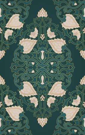 Pattern with ornamental flowers. Green floral ornament. Template for wallpaper, textile, shawl, carpet and any surface.  イラスト・ベクター素材