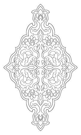Floral medallion for design. Template for carpet, wallpaper, textile and any surface. Vector pattern of black ornament on a white background.  イラスト・ベクター素材