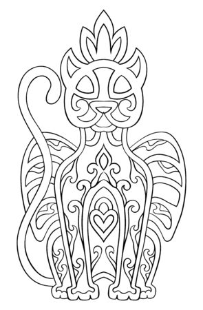 Vector vector panther with abstract elements isolated on white background. Oriental ethnic ornament. Template for coloring book and any surfaces. Design element.
