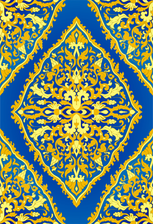 Blue and yellow floral pattern. Oriental filigree ornament. Colorful template for textile, shawl, carpet.