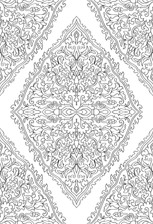 Abstract pattern with damask. Seamless filigree ornament. Black and white template for wallpaper, textile, shawl, carpet. Stock Illustratie