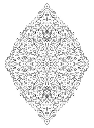 Floral medallion for design. Template for carpet, wallpaper, textile and any surface. Vector pattern of black ornament on a white background. Stock Illustratie