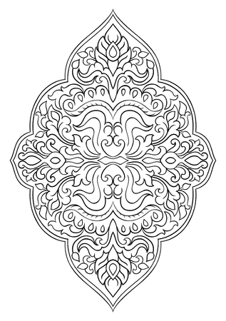 Floral medallion for design. Template for carpet, wallpaper, textile and any surface. Vector pattern on a white background. Stock Illustratie