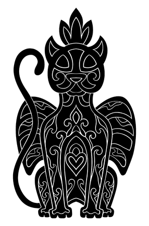 Vector black cat with abstract elements isolated on white background. Oriental ethnic ornament. Template for any surfaces. Design element. Stock Illustratie