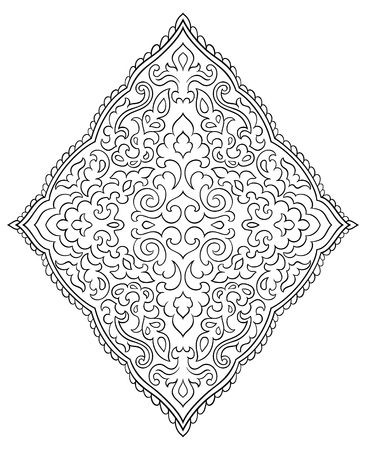 Abstract medallion for design. Template for carpet, wallpaper, textile and any surface. Vector ornament on a white background.  イラスト・ベクター素材
