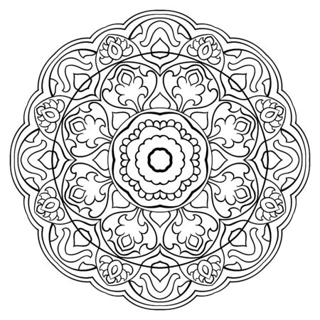 Vector simple mandala isolated on white background. Oriental ethnic ornament. Template for carpet and any surfaces. Design element.