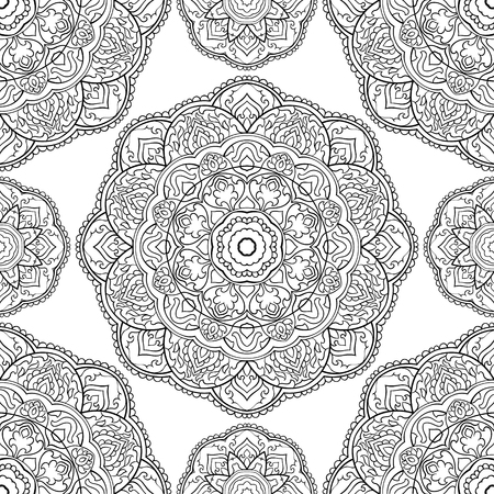 Abstract floral pattern with mandala. Vector black and white background. Template for textile, carpet, shawl. Stock Illustratie