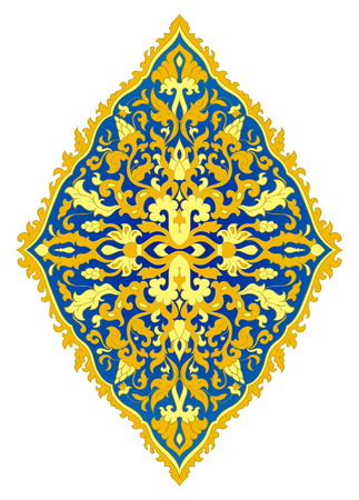 Abstract medallion for design. Template for carpet, wallpaper, textile and any surface. Blue and yellow pattern on a white background.