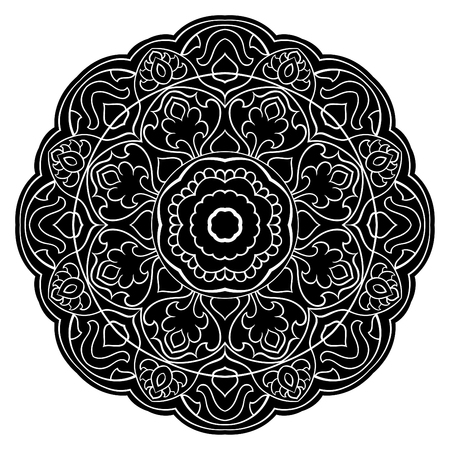 Vector abstract mandala with abstract elements, isolated on white background. Oriental ethnic ornament. Template for carpet and any surfaces. Design element. Stock Illustratie