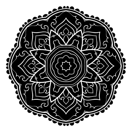 Vector simple mandala with abstract elements, isolated on white background. Oriental ethnic ornament. Design element. Tattoo. Stock Illustratie