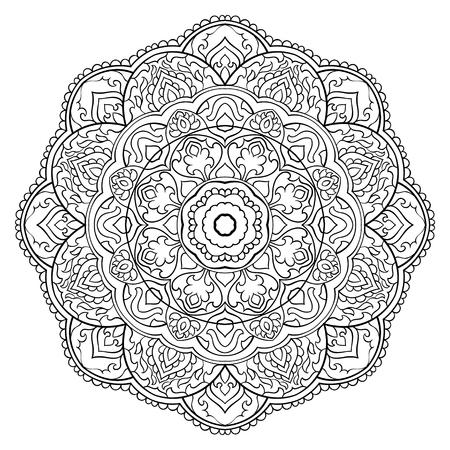 Filigranowa mandala abstrakcyjna. Orientalny ornament etniczny. Element projektu. Ilustracje wektorowe