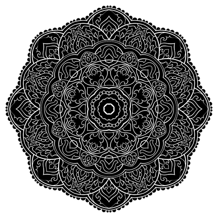 Black filigree mandala with abstract elements, isolated on white background. Oriental ethnic ornament. Template for any surfaces. Design element. Mehndi.Tattoo.