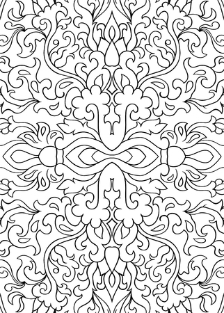 Abstract filigree pattern. Vector black and white background. Template for textile, carpet, shawl.