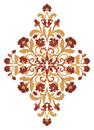 Abstract floral ornament. Template for carpet, wallpaper, textile and any surface. Vector pattern on a white background. Damask. Design element.