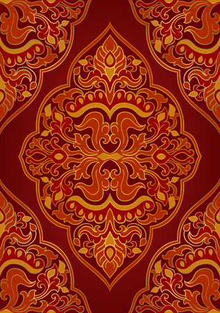 Oriental abstract ornament. Template for carpet, textile and any surface. Seamless vector pattern on a burgundy background. Stock Illustratie