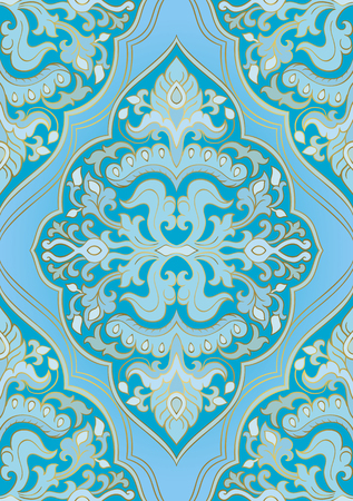 Oriental blue ornament. Template for carpet, textile and any surface. Seamless vector pattern on a turquoise background.