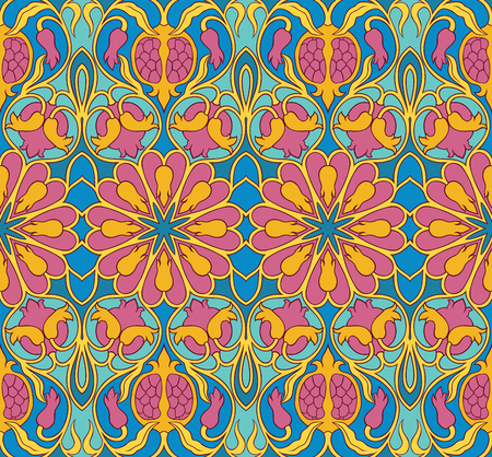 Ornamental floral pattern. Colorful background with pomegranates. Template for textile, carpet, wallpaper, shawl. Stock Illustratie