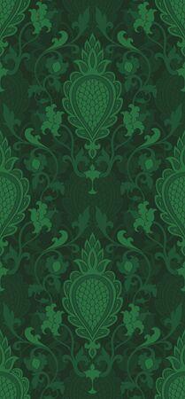 Green abstract pattern. Oriental filigree ornament.
