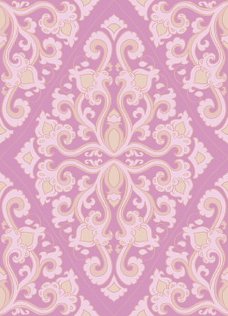 Oriental abstract pattern. Vector pink template for textile, shawl, carpet. Colorful ornament. Stock Illustratie