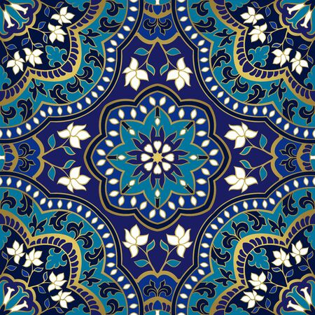 Floral pattern with mandala. Seamless filigree ornament. Blue template for wallpaper, textile, shawl, carpet. Illustration