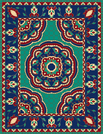 Kleurrijke sjabloon met mandala's voor tapijt, textiel. Oosters bloemmotief met frame.