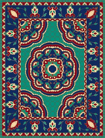 Kolorowy szablon z mandalami na dywan, tekstylia. Orientalny kwiatowy wzór z ramą.