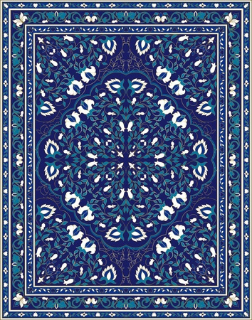 Oriental abstract ornament. Colorful template for carpet, textile. Blue pattern with frame. Stock Illustratie