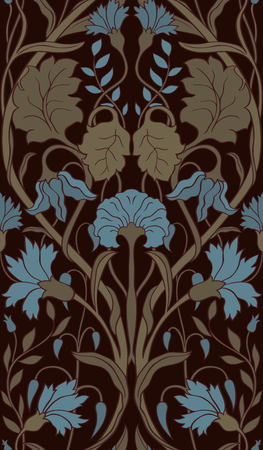 Beautiful floral pattern. Seamless filigree ornament. Stylized template for wallpaper, textile, linen, bedspread, curtain, shawl, carpet.