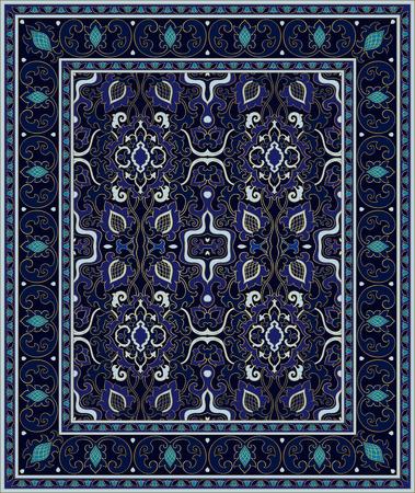 Oriental abstract ornament. Colorful template for carpet, textile. Blue pattern with frame. Illusztráció