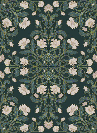 Oriental floral ornament. Green template for carpet, shawl, textile and any surface. Ornamental pattern with filigree details.