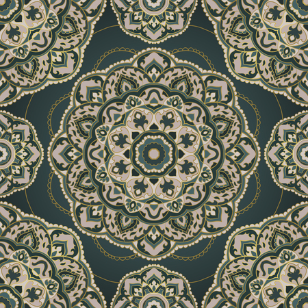 Abstract indian pattern with mandala. Vector beautiful background. Template for textile, carpet, shawl.