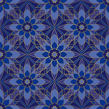 Seamless blue pattern. Oriental geometric ornament. Template for carpet, shawl, tile, wallpaper, textile, mosaic. Illusztráció
