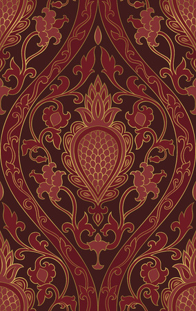 Oriental burgundy ornament. Template for carpet, textile and any surface. Seamless vector pattern.